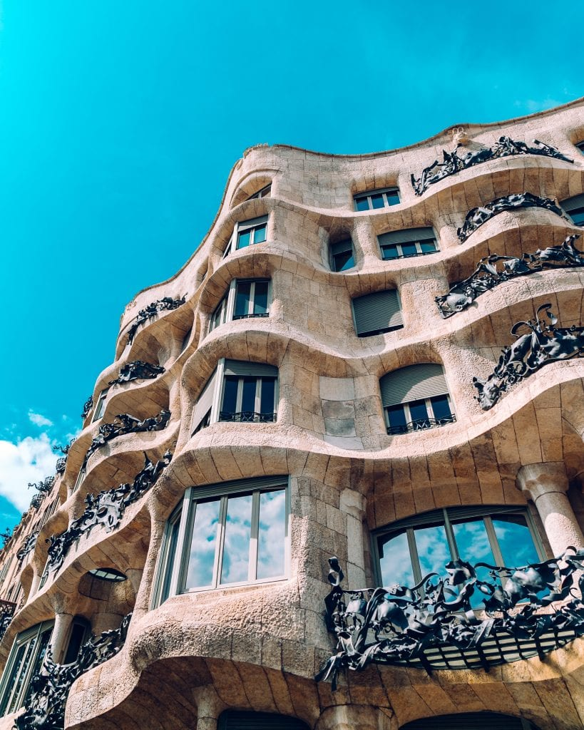 the exterior part of La Pedrera in Barcelona